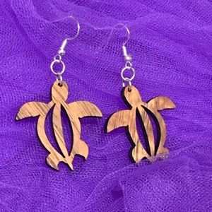 Hawaiian made Hawaiian Koa wood earrings